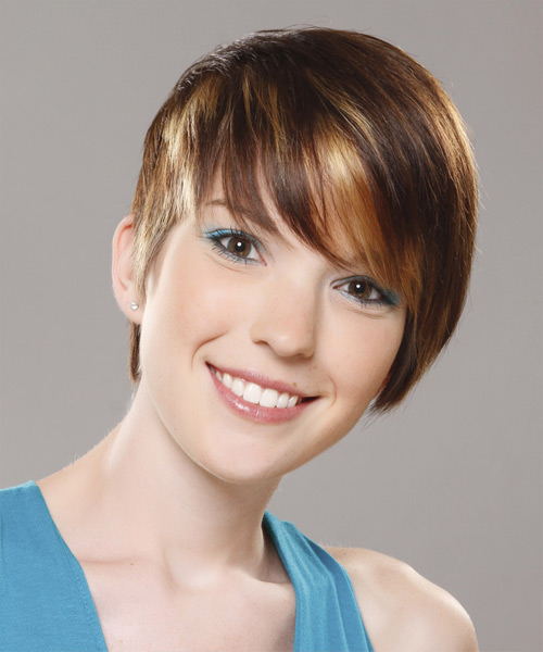 Short Straight Casual  Pixie  Hairstyle with Side Swept Bangs  - Dark Golden Brunette Hair Color