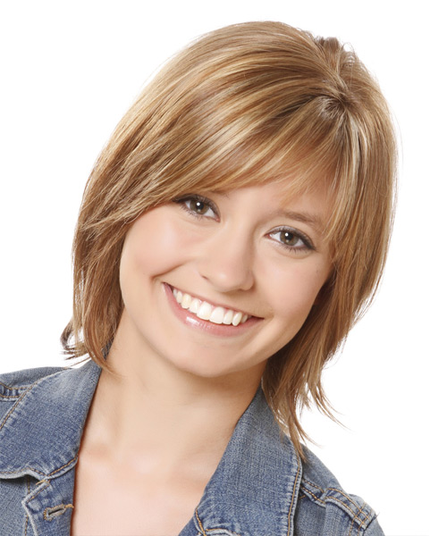 Medium Straight Layered  Light Brunette Bob  Haircut with Side Swept Bangs  and  Blonde Highlights