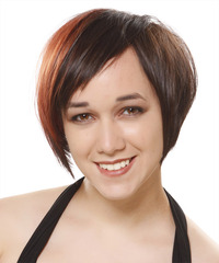 Short Straight Casual  Pixie  Hairstyle with Asymmetrical Bangs  - Dark Brunette and Orange Two-Tone Hair Color