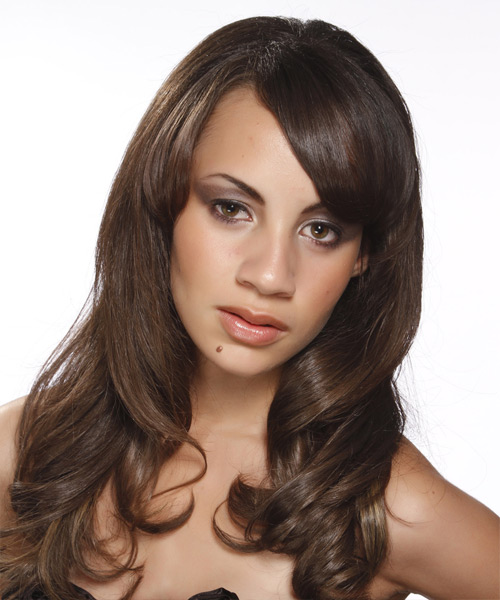 Long Wavy   Dark Brunette   Hairstyle with Side Swept Bangs