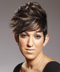 Short Straight Alternative Layered Pixie  Hairstyle   - Dark Brunette Hair Color with Light Brunette Highlights
