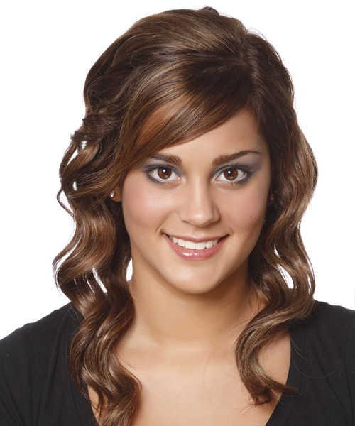 Long Wavy    Brunette   Hairstyle with Side Swept Bangs