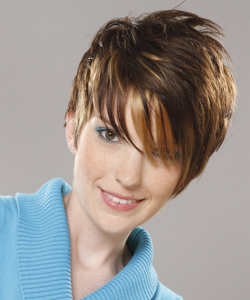 Short Straight Casual Layered Pixie  Hairstyle with Asymmetrical Bangs  - Medium Honey Brunette Hair Color