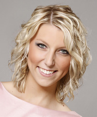 Medium Curly   Light Champagne Blonde   Hairstyle