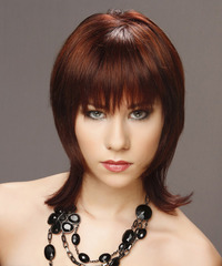 Medium Straight Layered  Dark Red Bob  Haircut with Blunt Cut Bangs
