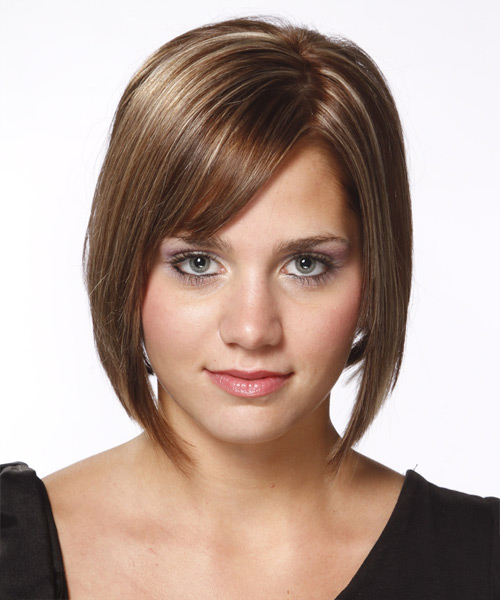 Medium Straight    Ash Brunette Bob  Haircut with Side Swept Bangs  and Light Blonde Highlights