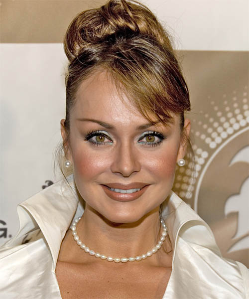 Gabriela Spanic Updo Long Straight Formal  Updo Hairstyle