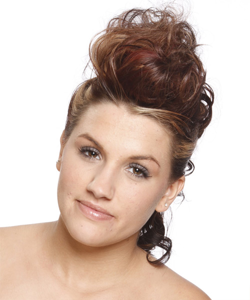 Medium Curly Alternative   Updo Hairstyle   -  Chestnut Brunette Hair Color