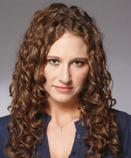 Long Curly Casual    Hairstyle   -  Chocolate Brunette Hair Color