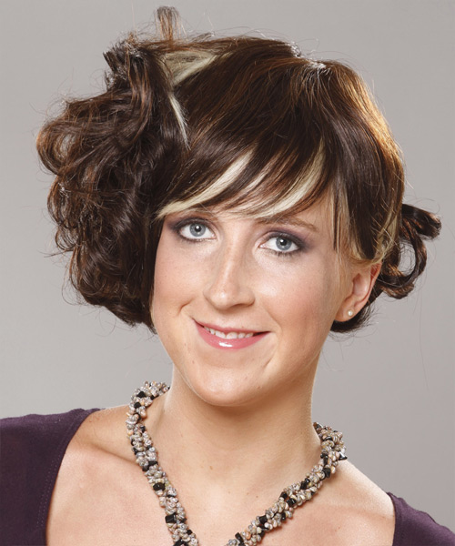 Medium Curly Formal   Updo Hairstyle with Blunt Cut Bangs  -  Brunette Hair Color with Light Blonde Highlights