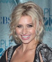 Alyson Michalka  Long Curly Casual   Updo Hairstyle   - Light Platinum Blonde Hair Color