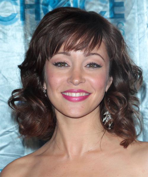 Autumn Reeser Medium Wavy Formal    Hairstyle with Blunt Cut Bangs  -  Chocolate Brunette Hair Color