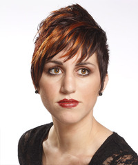 Dark Brunette and Orange Two-Tone Pixie  Cut with Layered Bangs