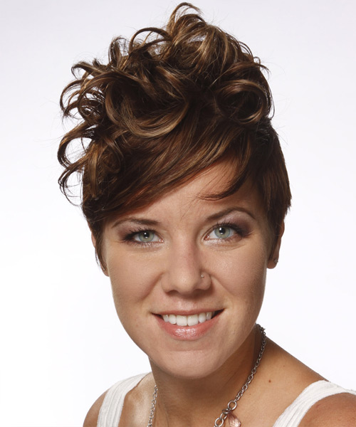 Short Straight Alternative    Hairstyle with Side Swept Bangs  -  Brunette Hair Color