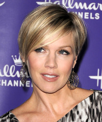 Jennie Garth Short Straight Formal    Hairstyle with Side Swept Bangs  -  Platinum Blonde Hair Color