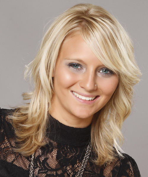 Medium Wavy Formal    Hairstyle with Side Swept Bangs  - Light Blonde Hair Color