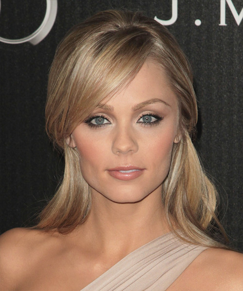 Laura Vandervoort   Long Straight Casual   Half Up Hairstyle   - Light Blonde and  Brunette Two-Tone Hair Color