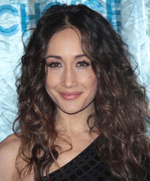Maggie Q Long Curly Casual    Hairstyle   - Dark Auburn Brunette Hair Color