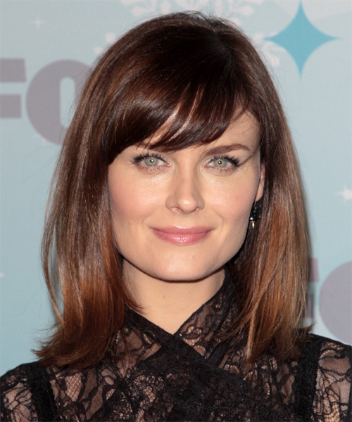 Emily Deschanel Medium Straight Casual   Hairstyle