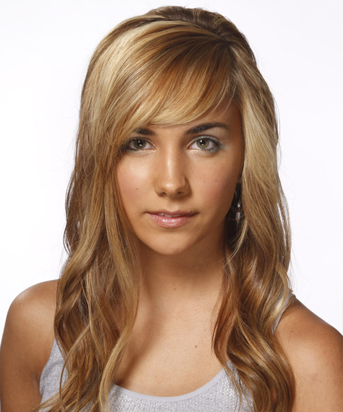 suggested haircuts for faces wavy casual hairstyle with side swept bangs light 6101