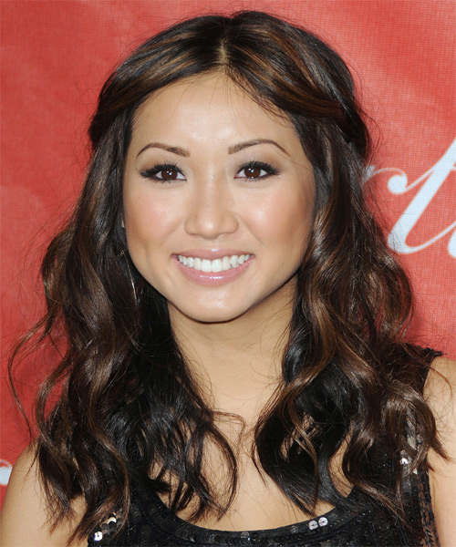 Brenda Song  Long Curly Casual   Half Up Hairstyle   - Black  Hair Color with Light Red Highlights