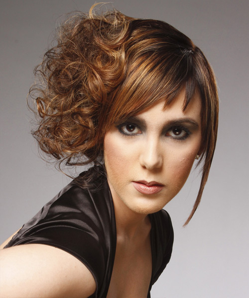Long Curly Formal  Asymmetrical Updo Hairstyle with Asymmetrical Bangs  - Caramel and Dark Brunette Two-Tone Hair Color