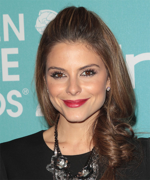 Maria Menounos Half Up Long Curly Formal  Half Up Hairstyle
