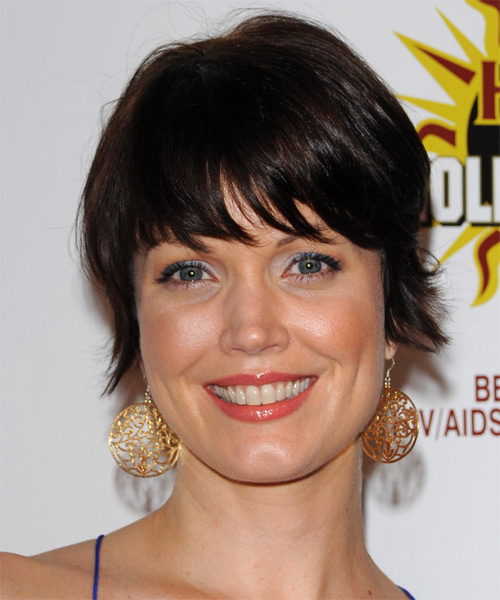 Bellamy Young Short Straight Casual  Pixie  Hairstyle with Blunt Cut Bangs  - Black  Hair Color