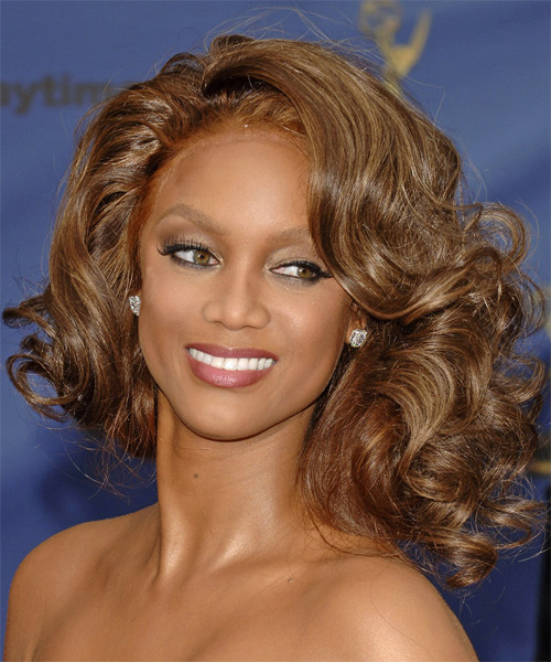 Tyra Banks  Medium Curly Formal  Bob  Hairstyle   - Caramel Hair Color