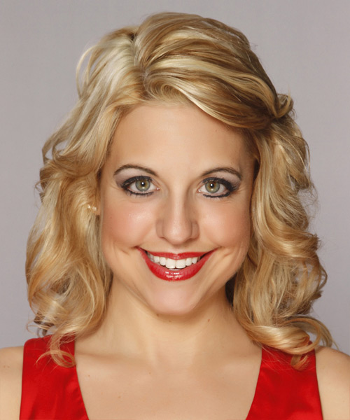 Medium Wavy Formal Layered Bob  Hairstyle   -  Blonde Hair Color with Light Blonde Highlights