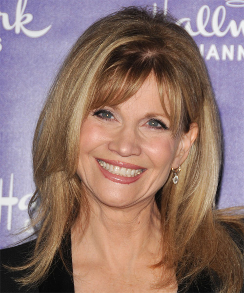 Markie Post Medium Straight Casual    Hairstyle with Razor Cut Bangs  -  Blonde Hair Color