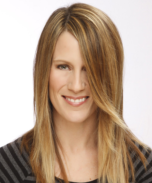 Long Straight   Light Caramel Brunette   Hairstyle   with Light Blonde Highlights