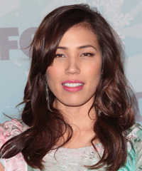 Michaela Conlin  Long Wavy Casual    Hairstyle with Side Swept Bangs  - Dark Red Hair Color
