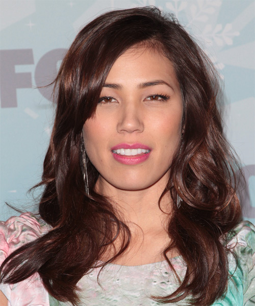 Michaela Conlin  Long Wavy   Dark Red   Hairstyle with Side Swept Bangs
