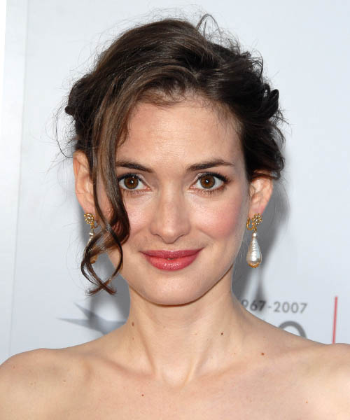 Winona Ryder  Medium Curly Formal   Updo Hairstyle