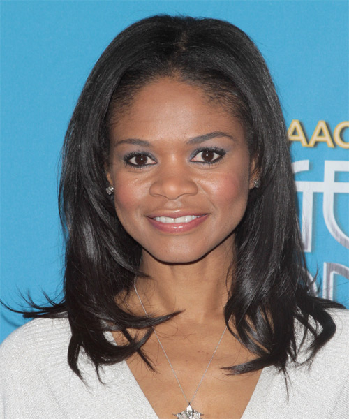 Kimberly Elise Medium Straight Black Hairstyle