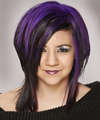 Medium Straight Alternative    Hairstyle   - Black  and Purple Two-Tone Hair Color
