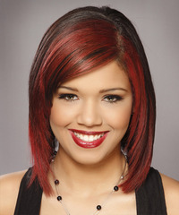 Medium Straight   Black Burgundy  Bob  Haircut
