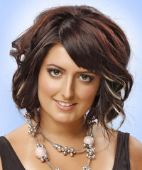 Medium Wavy Formal  Bob  Hairstyle   - Dark Red Hair Color with Light Blonde Highlights