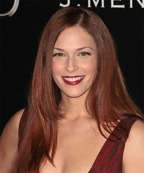 Amanda Righetti Long Straight Formal   Hairstyle   - Dark Red