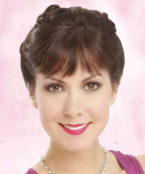 Updo Long Straight Formal  Updo Hairstyle with Layered Bangs  - Medium Brunette