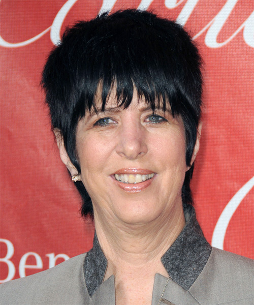 Diane Warren Short Straight Casual  Pixie  Hairstyle with Blunt Cut Bangs  - Black Ash  Hair Color