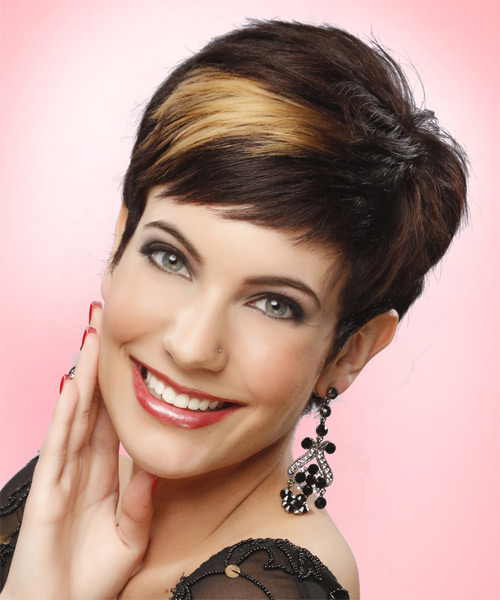 Short Straight Formal Pixie  Hairstyle with Side Swept Bangs  - Dark Brunette (Mocha)