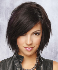 Medium Straight   Dark Auburn Brunette   Hairstyle with Side Swept Bangs