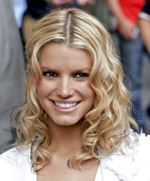 Jessica Simpson Medium Curly Casual    Hairstyle