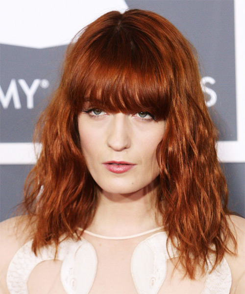 Florence Welch Medium Wavy Casual    Hairstyle with Blunt Cut Bangs  - Orange  Hair Color