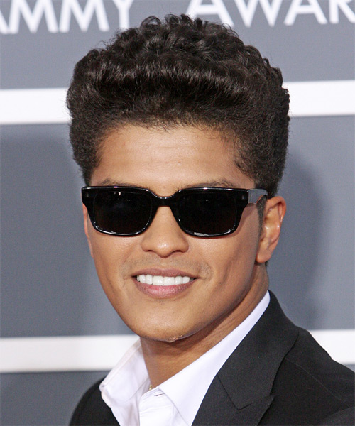 Bruno Mars Short Curly Casual    Hairstyle   - Dark Brunette Hair Color