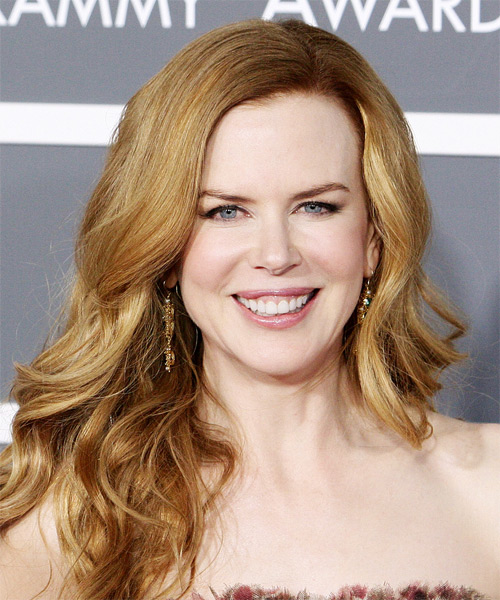 Nicole Kidman Long Wavy Casual    Hairstyle   - Orange  Hair Color with Light Blonde Highlights