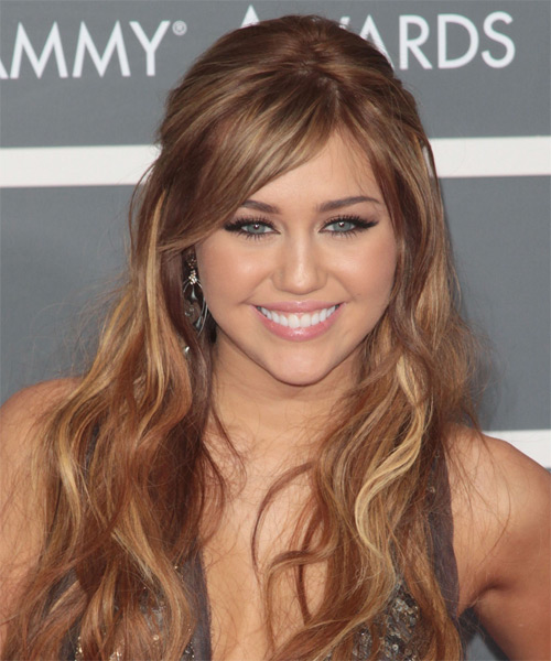 Miley Cyrus  Long Curly Casual   Half Up Hairstyle   - Auburn Hair Color with Light Blonde Highlights