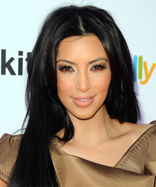 Kim Kardashian Long Straight   Black    Hairstyle